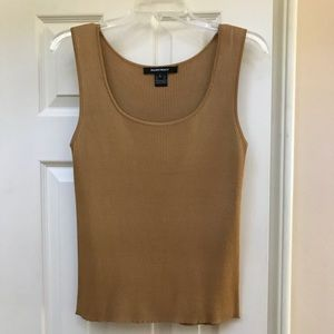 Ellen Tracy Golden Silk Ribbed Shell Size Large